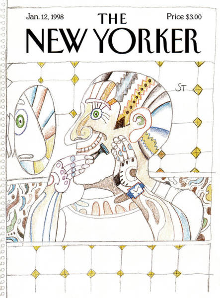 Morning Painting - New Yorker January 12th, 1998 by Saul Steinberg