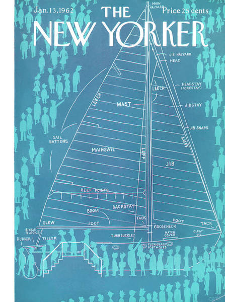 Nautical Painting - New Yorker January 13th, 1962 by Charles E Martin