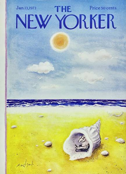 Cloud Painting - New Yorker January 13th 1973 by Ronald Searle