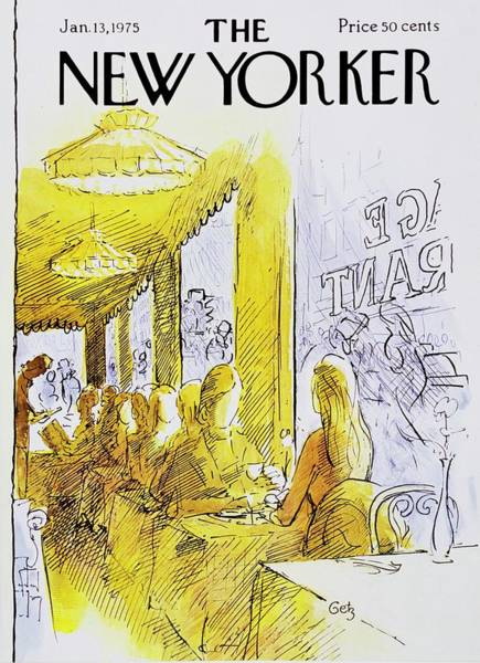 Restaurant Painting - New Yorker January 13th 1975 by Arthur Getz