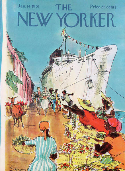 Boat Painting - New Yorker January 14th, 1961 by Charles Saxon