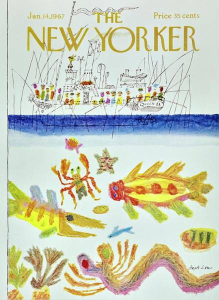 Underwater Painting - New Yorker January 14th 1967 by Joseph Low