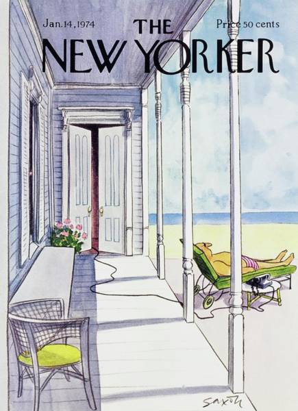 Back Door Painting - New Yorker January 14th 1974 by Charles D Saxon