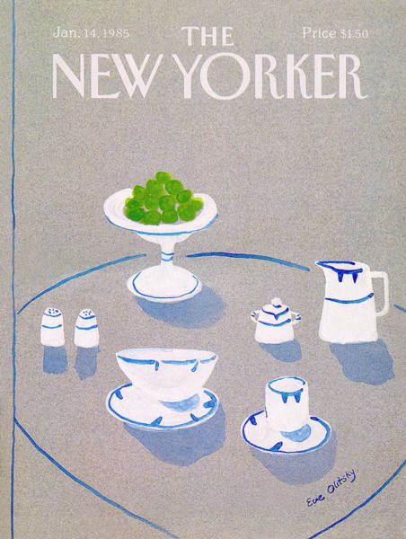 Table Painting - New Yorker January 14th, 1985 by Eve Olitsky