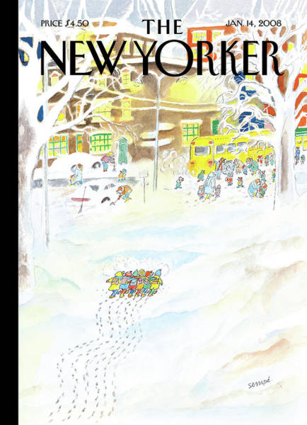 Jeans Painting - New Yorker January 14th, 2008 by Jean-Jacques Sempe