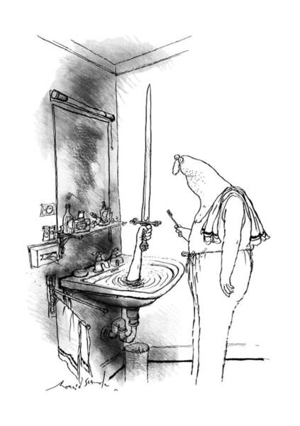 Caption Drawing - New Yorker January 15th, 1990 by Ronald Searle