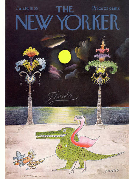 Night Painting - New Yorker January 16th, 1965 by Saul Steinberg