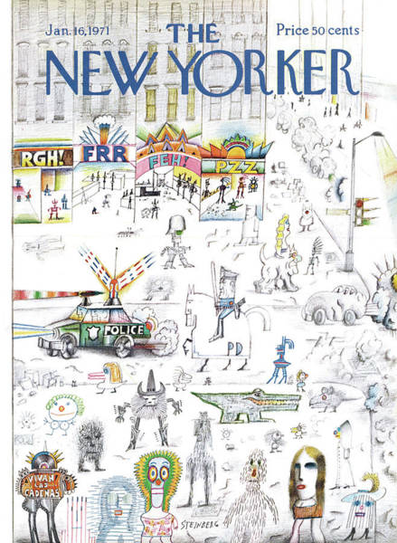 Skyline Painting - New Yorker January 16th, 1971 by Saul Steinberg