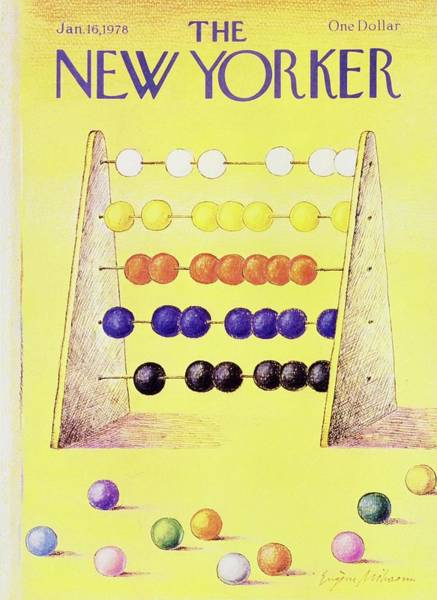 Yellow Background Painting - New Yorker January 16th 1978 by Eugene Mihaesco