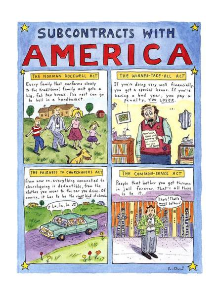 Republican Drawing - New Yorker January 16th, 1995 by Roz Chast