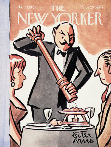 Restaurant Painting - New Yorker January 18th, 1964 by Peter Arno