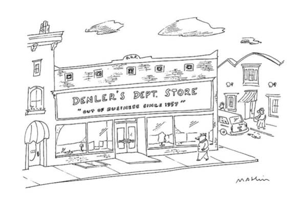 Storefront Drawing - New Yorker January 18th, 1988 by Michael Maslin