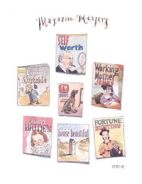 Mergers Drawing - New Yorker January 18th, 1999 by Barry Blitt