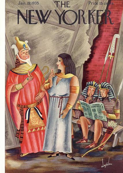 Pharaoh Painting - New Yorker January 19th, 1935 by Constantin Alajalov