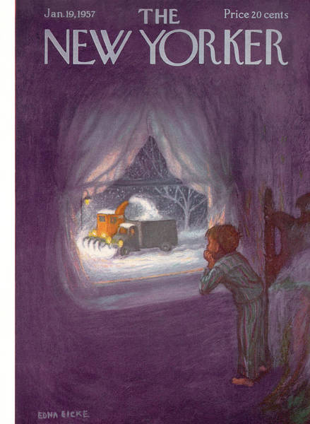 Snowing Painting - New Yorker January 19th, 1957 by Edna Eicke