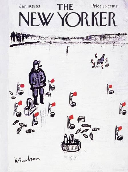 Lake Painting - New Yorker January 19th 1963 by Aaron Birnbaum