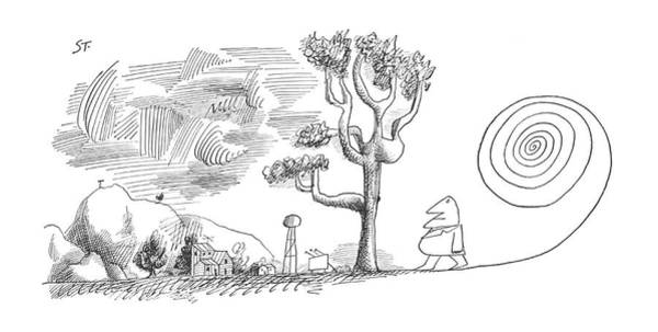 Hiking Drawing - New Yorker January 19th, 1963 by Saul Steinberg