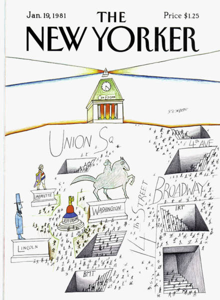 New York City Subway Painting - New Yorker January 19th, 1981 by Saul Steinberg