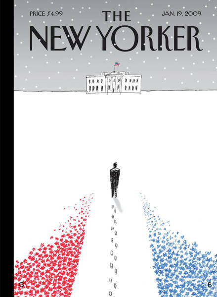 Snowing Painting - New Yorker January 19th, 2009 by Guy Billout