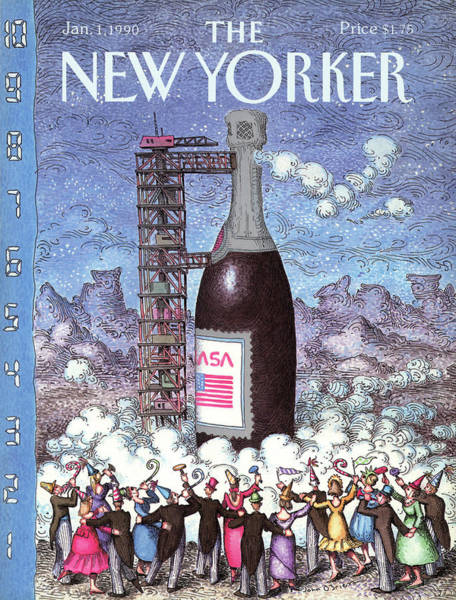Champagne Painting - New Yorker January 1st, 1990 by John O'Brien