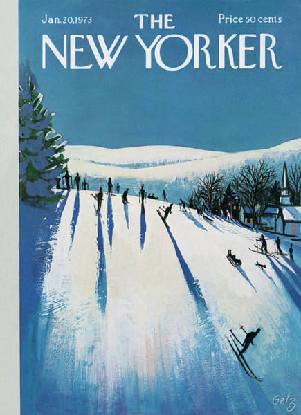 Skiing Painting - New Yorker January 20th, 1973 by Arthur Getz