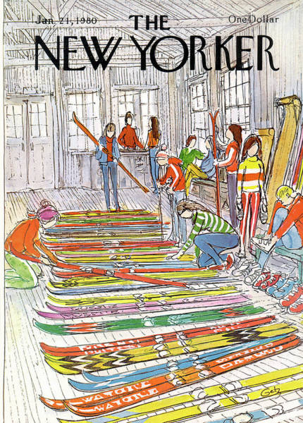 Skiing Painting - New Yorker January 21st, 1980 by Arthur Getz