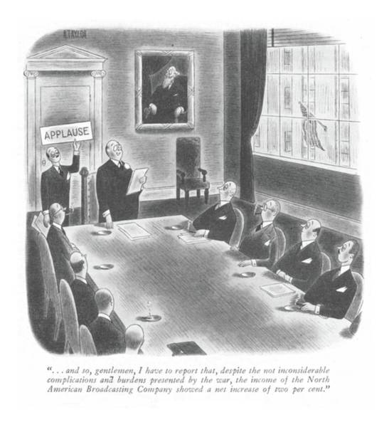 Chairman Of The Board Drawing - New Yorker January 22nd, 1944 by Richard Taylor