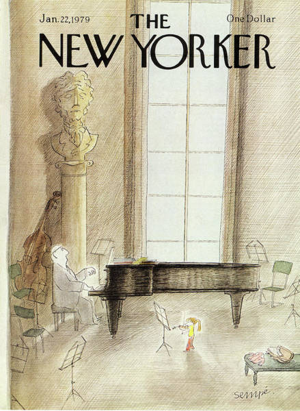 Grand Piano Painting - New Yorker January 22nd, 1979 by Jean-Jacques Sempe