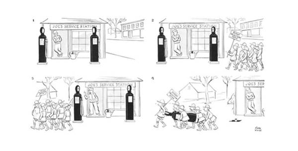 Pump Drawing - New Yorker January 23rd, 1943 by Carl Rose