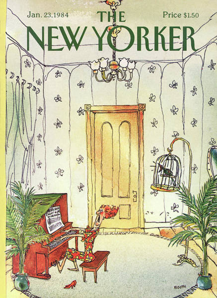 Piano Player Painting - New Yorker January 23rd, 1984 by George Booth