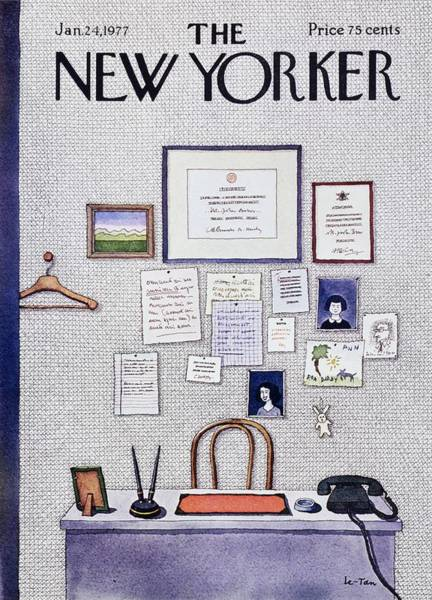 Office Furniture Painting - New Yorker January 24th 1977 by Pierre Le-Tan