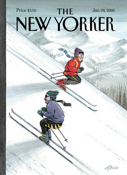 Skiing Painting - New Yorker January 24th, 2000 by Harry Bliss