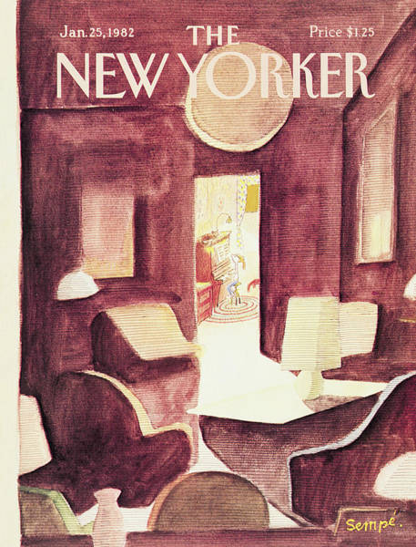 Piano Painting - New Yorker January 25th, 1982 by Jean-Jacques Sempe