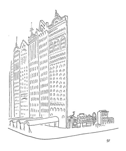 Facade Drawing - New Yorker January 26th, 1952 by Saul Steinberg