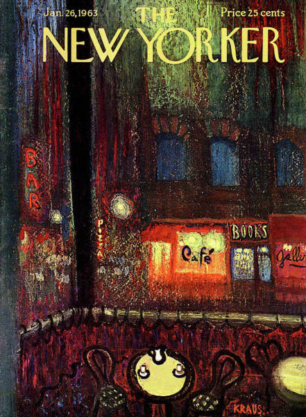 Night Painting - New Yorker January 26th, 1963 by Robert Kraus