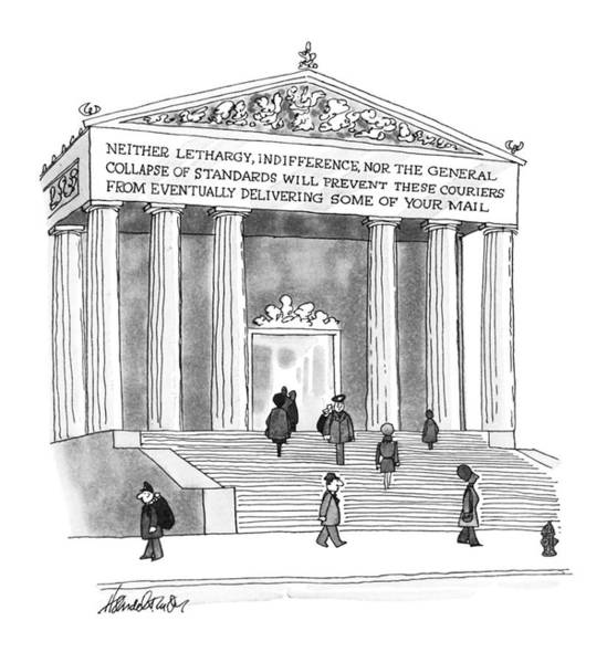 Indifference Drawing - New Yorker January 26th, 1976 by J.B. Handelsman