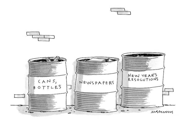Recycling Drawing - New Yorker January 26th, 1998 by Mick Stevens
