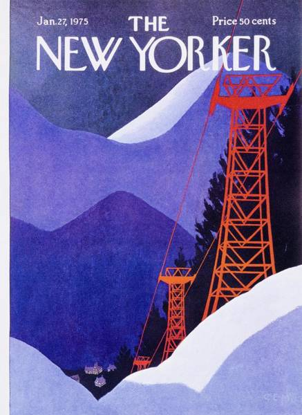 Night Painting - New Yorker January 27th 1975 by Charles Martin