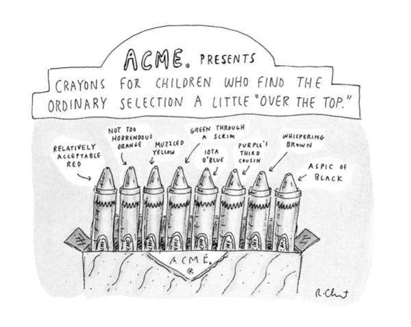 Crayon Drawing - New Yorker January 27th, 1992 by Roz Chast