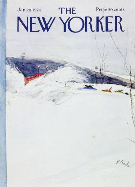 Snowy Painting - New Yorker January 28th 1974 by Perry Barlow