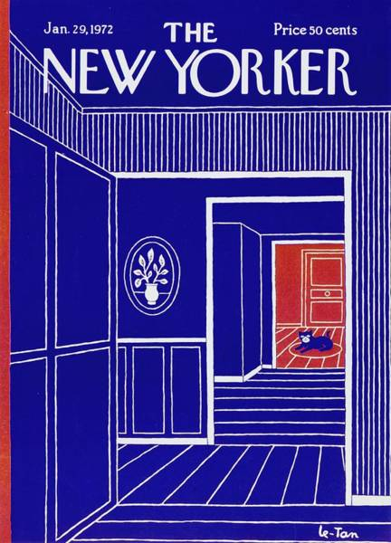 Tan Cat Wall Art - Painting - New Yorker January 29th 1972 by Pierre Le-Tan