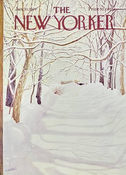 Winter Landscapes Painting - New Yorker January 30th 1971 by Ilonka Karasz