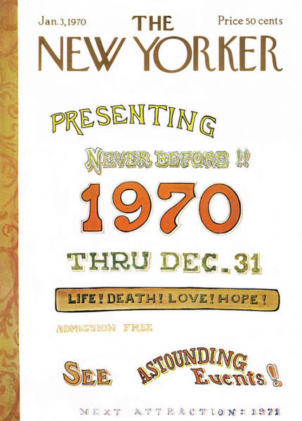 New Year Painting - New Yorker January 3rd, 1970 by James Stevenson