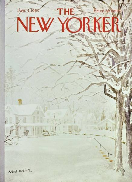 4 Seasons Painting - New Yorker January 4th 1969 by Albert Hubbell