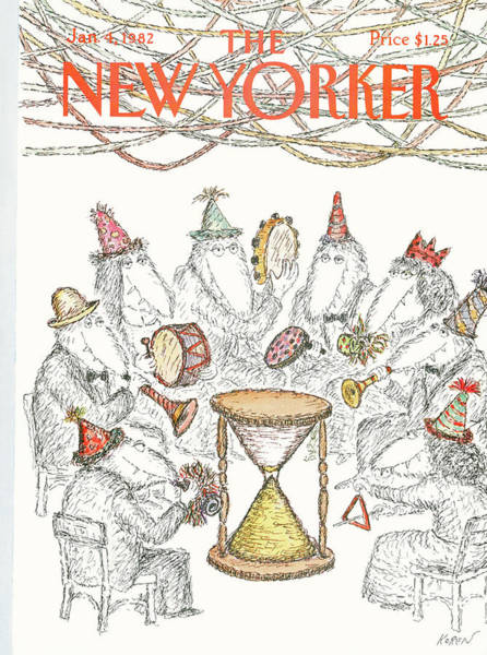 Hat Painting - New Yorker January 4th, 1982 by Edward Koren