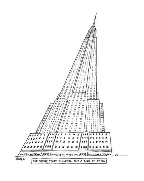 Landmark Drawing - New Yorker January 4th, 1982 by Jack Ziegler