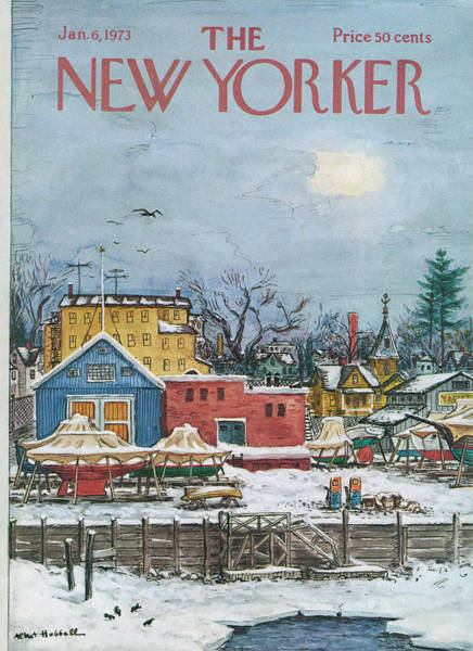 Town Painting - New Yorker January 6th, 1973 by Albert Hubbell
