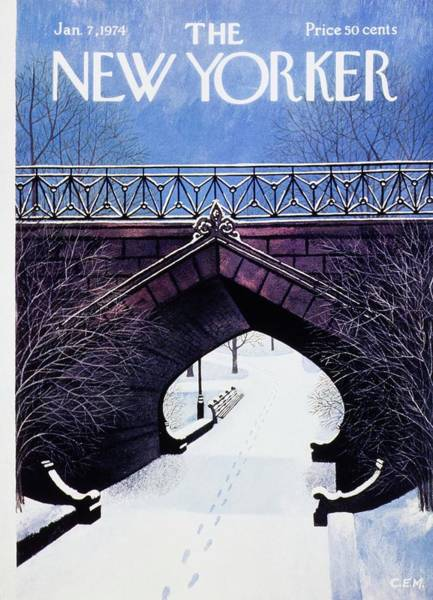 Mid Atlantic Painting - New Yorker January 7th 1974 by Charles Martin