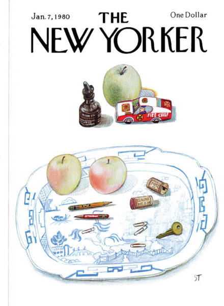 Apples Painting - New Yorker January 7th, 1980 by Saul Steinberg