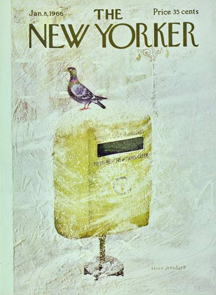 Pigeons Painting - New Yorker January 8th 1966 by Laura Jean Allen